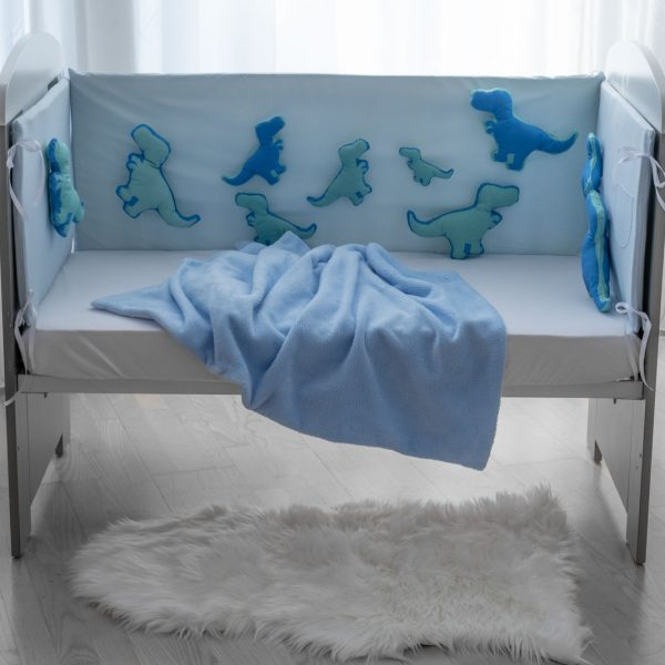 Ogradica clasic plavi pamuk sa suskavim Dinosima KODA7863 babysleepigloo.hr